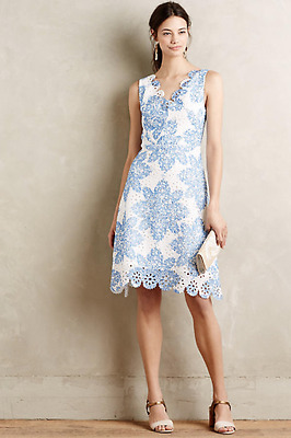 Anthropologie Maxi Dress New Size Medium Lace Navy Blue Date Classy Scalloped