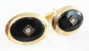 Vintage-Deco-Style-Mid-Century-Anson-Onyx-And-Rhinestone-Gold-Tone-Cufflinks