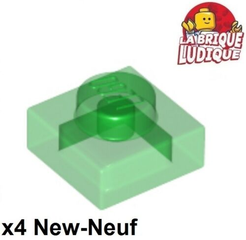 Lego 4x Plate Modified 1x1 vert transparent trans green 3024 NEUF