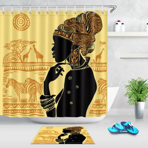 Africa Landscape Beautiful African Woman Shadow Shower Curtain Set Bath Decor