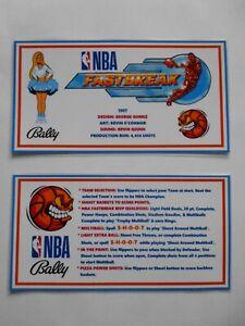 * * 'NBA FASTBREAK' Bally 1997 Custom Instruction/Apron Cards * * (New)