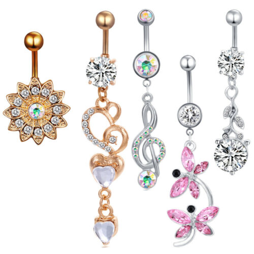 5Pcs Dangle Belly Button Rings Navel  Rings Surgical Steel Body Piercing Jewelry
