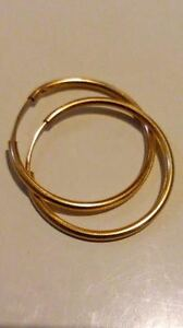 MEDIUM SIZE 9ct 375 Yellow Gold HOOP EARRINGS  approx 22mm with Gift Box - Romford, United Kingdom - MEDIUM SIZE 9ct 375 Yellow Gold HOOP EARRINGS  approx 22mm with Gift Box - Romford, United Kingdom