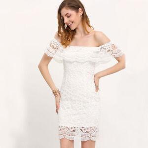 buy online 487a3 3cd57 Dettagli su Elegante vestito abito corto spacco bianco pizzo evento  scollato morbido 4699