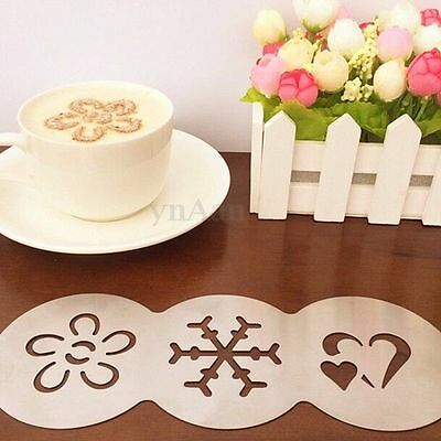 3 in 1 Stainless Steel Snowflake & Heart & Flower Coffee Stencils Template Pad
