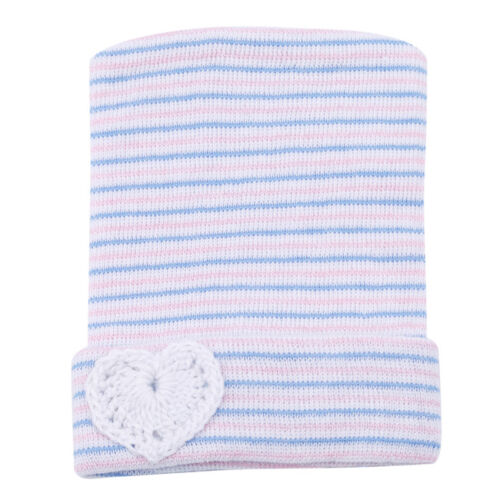Newborn Baby Hats Cotton Beanie With Heart Soft Striped Stretchy Caps Toddler Z