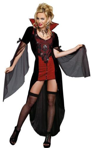 Killing Me Softly Adult Womens Costume Black Red Velvet Victorian Vampiress
