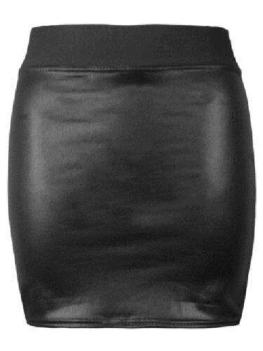 Nouveau Débardeur Noir Pvc Mouillé Cuir Look Mini Crayon Tube Moulante Jupe Taille 8-26
