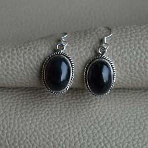 925-Sterling-Silver-Oval-Shape-Black-Onyx-Stone-Handmade-Earrings-KGJ-E-1022