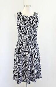 Michael Kors Black White Zebra Print A Line Knit Dress M Sleeveless Cutout Back