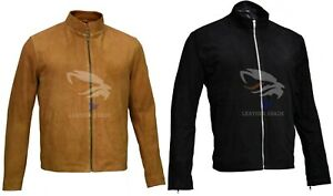 Men-039-s-James-Bond-Brown-Black-Suede-Daniel-Craig-Spectre-Morocco-Leather-Jacket
