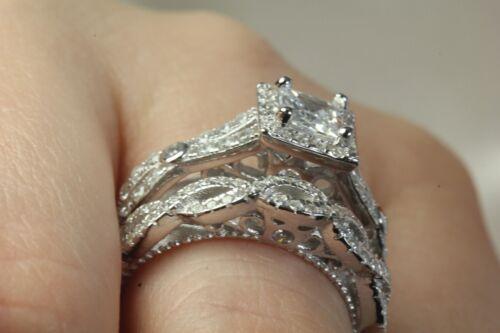 Princess Cut Halo Glamorous 1.60Ct Sterling Silver Wedding Engagement Ring Set