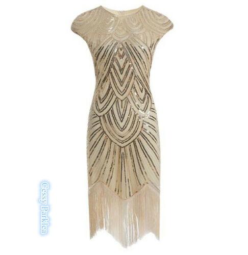 K4-1 Deluxe Ladies 1920s Roaring 20s Flapper Gatsby Costume Sequins 6-16 Gold