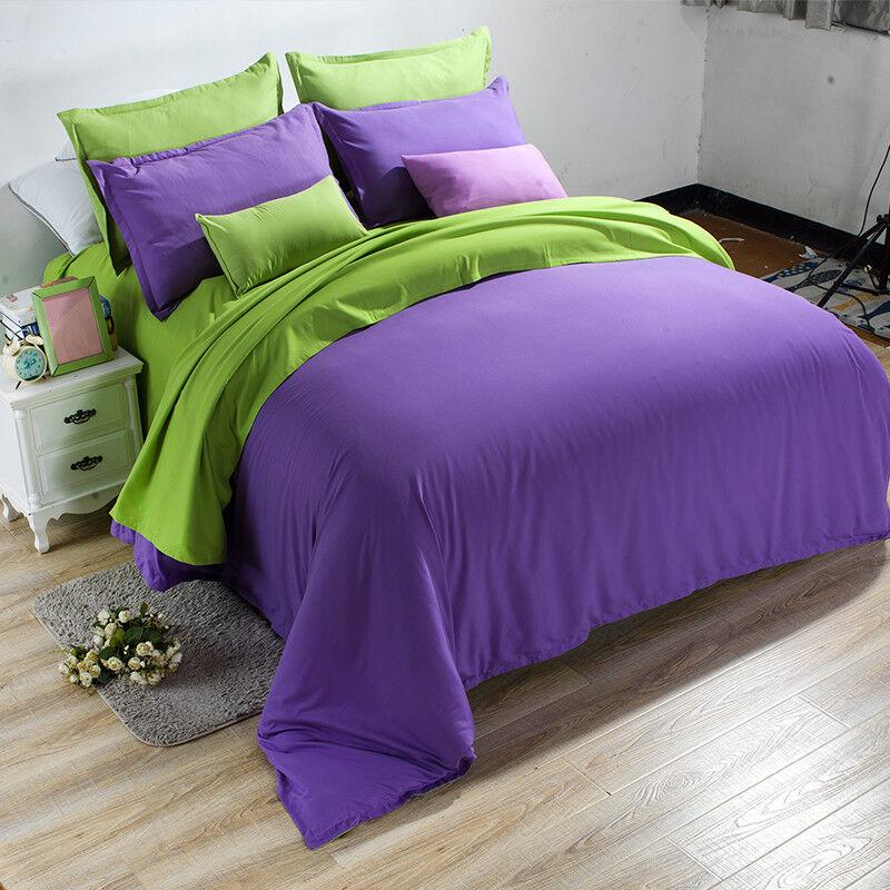 3D Purple Girl color7 Bed Pillowcases Quilt Duvet Cover Set Single Queen King CA