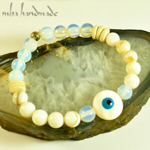 WOMEN-039-S-MOTHER-OF-PEARL-amp-EVIL-EYE-AMULET-AUTHENTIC-GEMSTONES-BEADED-BRACELET