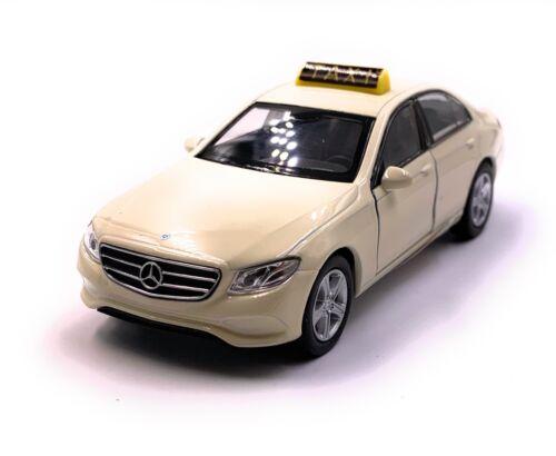 con licencia oficial Mercedes benz clase e taxi beige maqueta de coche auto escala 1:34