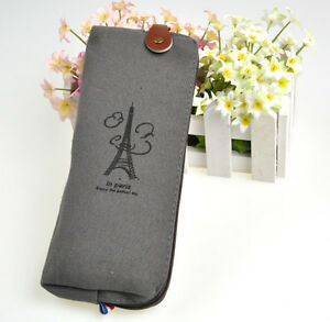 Canvas-Paris-Style-Pencil-Pen-Case-Cosmetic-Bag-Coin-Purse-Pouch-with-Zipper-New