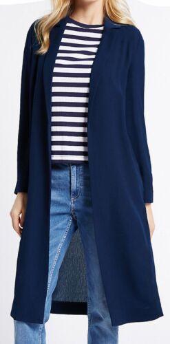 NAVY NEW Ex M/&S Longline Crepe Duster Tailored Blazer Jacket Coat 16 18 20 22
