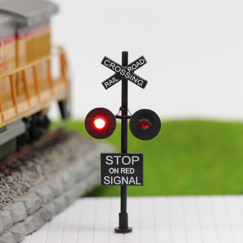 1XHO Scale Railroad Crossing Signal Stop on Red 2-lights+Circuit board flasher