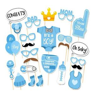 Details About 25pc Baby Shower Boy Photo Booth Props Gender Reveal Selfie New Born Party Decor
