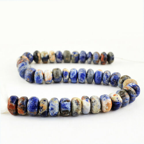 12 Inches Natural Untreated Drilled Blue Sodalite Beads Strand 465.00 Cts