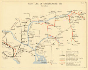 Assam Line Of Communications 1943 Burma Campaign Ww2 India 1961 Old