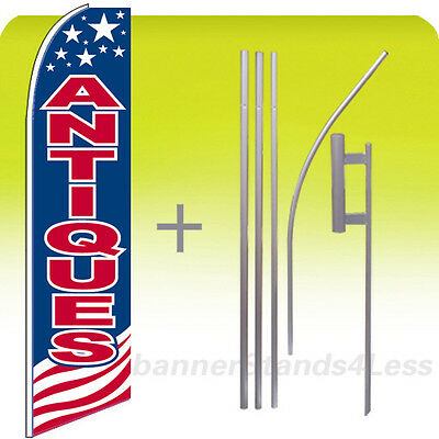 Antiques Feather Flags Swooper Advertising Sign Banner Kit 15/'