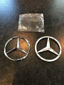 Mercedes-Benz-Badge-Logo-Emblem-Silver-Chrome-Rear-9cm-C-E-S-GLK-ML-Etc-90mm