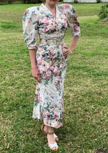 80s does 40s Vtg Floral BIG PUFF SLEEVES wiggle Dr