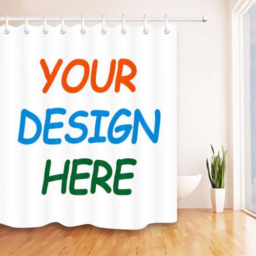 Your Design Here Custom Shower Curtain Sets Bathroom Waterproof Fabric 12 Hooks