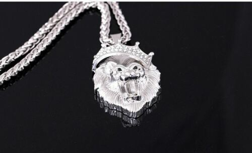 Glow in Dark Luminous Men Silver Gold Plated King Lion Head Hip Hop Necklace