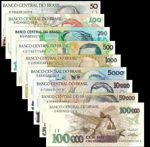 BRAZIL-BRASIL-SET-9-Pcs-50-100-200-500-1000-5000-10000-50000-100000-CRUZEIROS