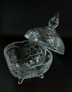 Vintage-Crystal-Cut-Glass-24-Lead-Crystal-Footed-Candy-Dish-w-Lid-Poland
