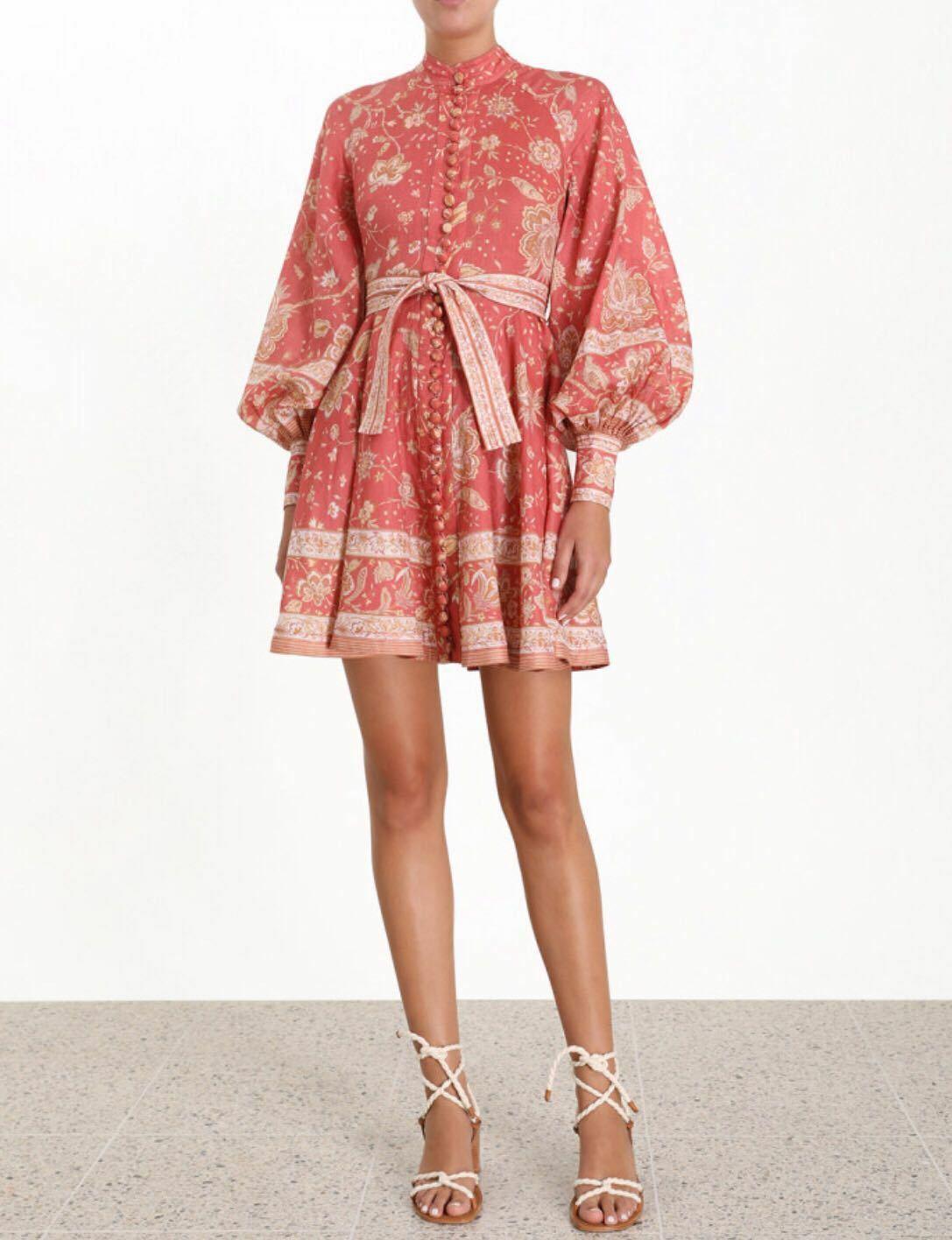 2019 Femme runway designer inspiré de Luxe Vintage Floral Bubble manches Robe