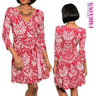 Sexy Print Wrap Style Dress Printed V-Neck 3/4 Sleeves Size 4 6 8 10 12 S M L
