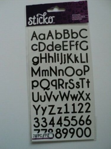 E K Succès Sticko Mince vertical noir alphabet stickers Entièrement neuf sous emballage