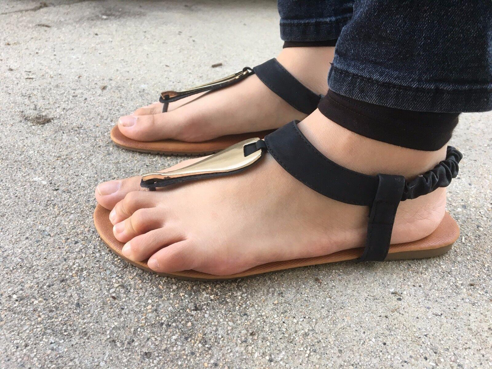 Gladiator Thong Sandals Womens Flop Shoes T Strap Flip Flop Womens Black Sandal NEW Size 7.5 1ffa66