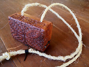 Indian Bohemian Carved Voorzien van Sheesham Wood Box Purse 80nOPwk