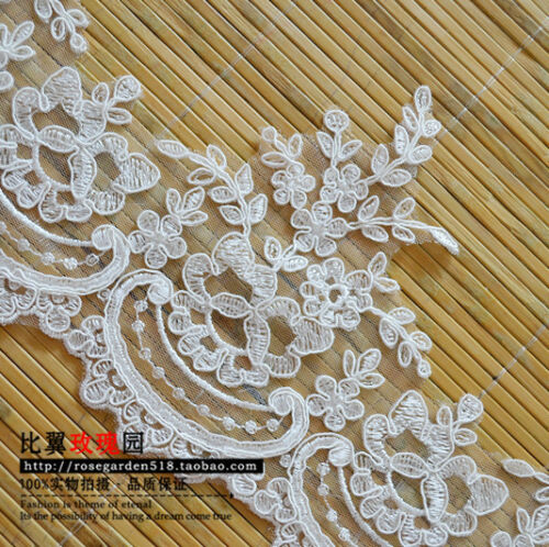 One Yard Long White embroidery applique lace for wedding dress decoration 12A90