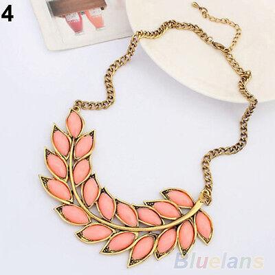 Womens Bib Statement Collar Chain Resin Leaves Pendant Necklace Fashion Jewelry