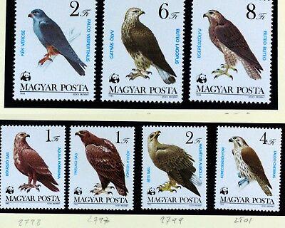 Fauna Sellos Symbol Of The Brand Wwf PÁjaro Raptor HungrÍa Hungría 7 Val Una 1983 88m845
