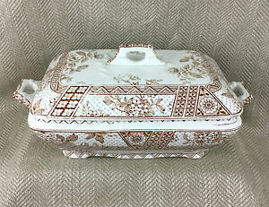 Antique Covered Tureen English Challinor Melbourne Transferware Brown Victorian
