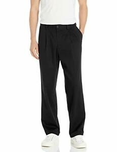 Dockers-Men-039-s-Relaxed-Fit-Easy-Comfort-Pants-D4-Pleated-Black-Size-40W-x-30L
