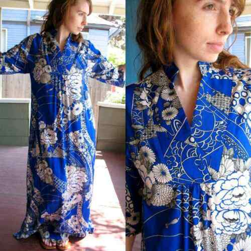 VTG 70s Hawaiian Dress Japanese Kimono Cut Gown MO