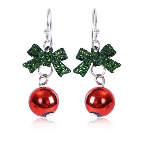 Femmes Noël Boucles d/'oreilles Noeud Papillon Boule Forme Brillant Bijoux Cadeau