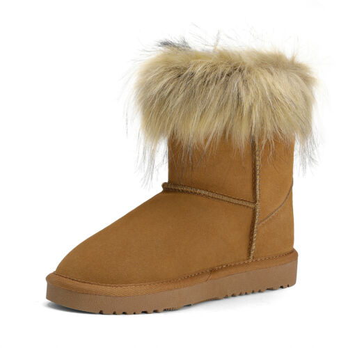 Boys Girls Toddles Sheepskin Snow Boots Faux Fur-Lined Ankle Ski Boots