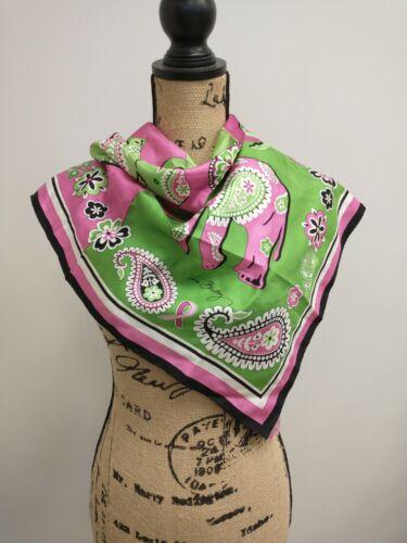 Vera Bradley Pink Elephants Silk Scarf