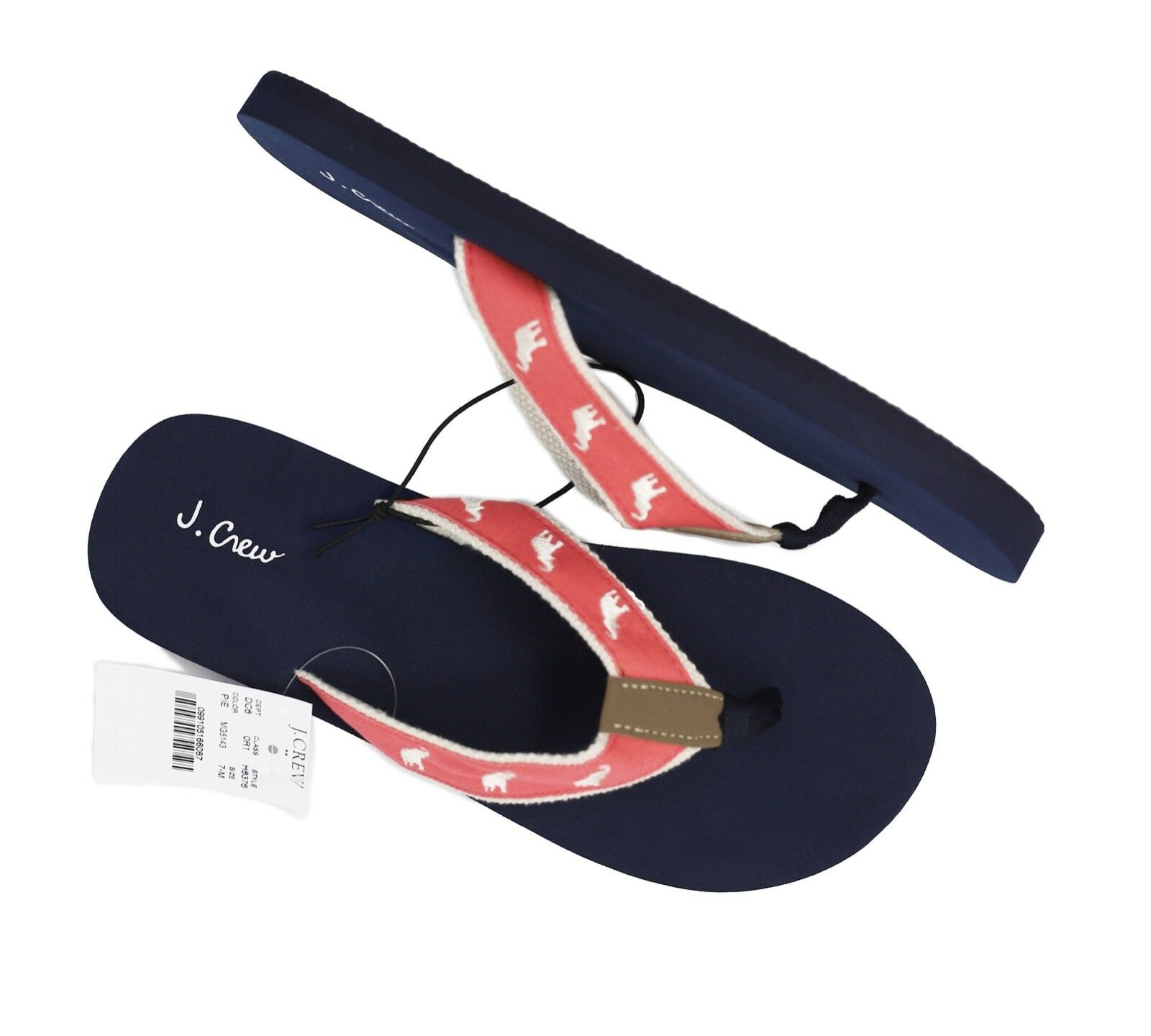 J.Crew Factory Women's 5M - Pink White Elephant Embroidered Canvas Flip Flops
