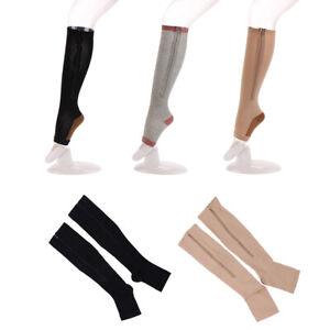 Compression-Zip-Sox-Socks-Zipper-Leg-Support-Unisex-Open-Toe-Knee-Stockings