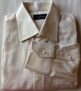 Canali-Men-Dress-Shirt-Off-White-Textured-15-1-2-39-Cotton-Made-In-Italy-AS-IS